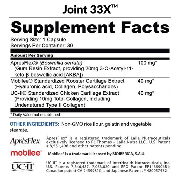BioTrust Joint 33X Ingredients