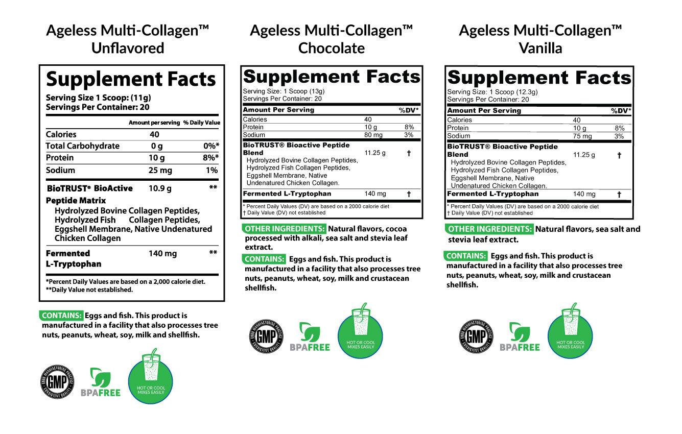 BioTrust Ageless Multi Collagen Ingredients