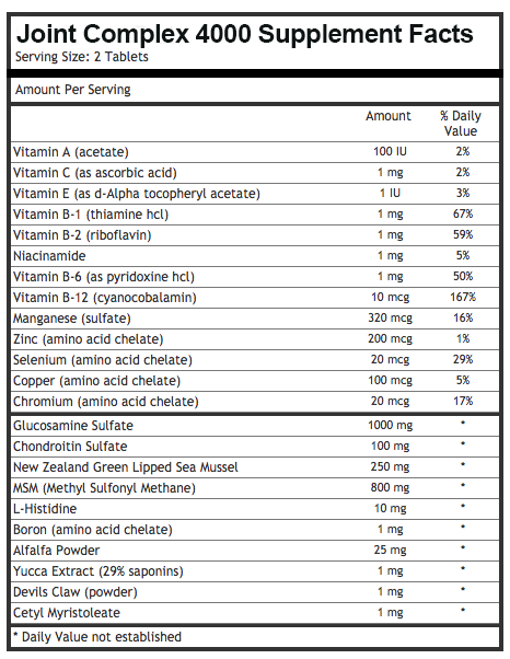 Joint Complex 4000 Ingredients